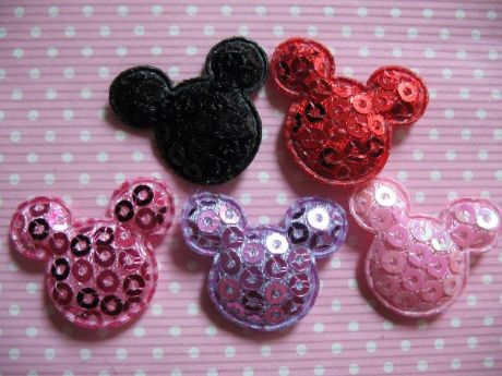 10 x 22MM SEQUIN MICKEY MINNIE MOUSE HEAD APPLIQUE HEADBANDS HAIR BOWS CRAFTS